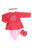Floral embroidered organic red and pink jamna set