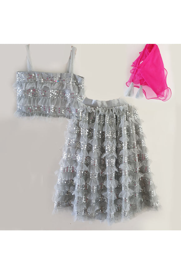 Grey organza silver sequins lehenga set