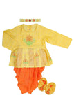 Floral embroidered organic yellow and orange jamna set