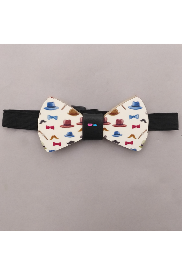 Boys hat print white wooden bow