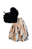 Black Ruffle Top with Beige Feather Print Skirt