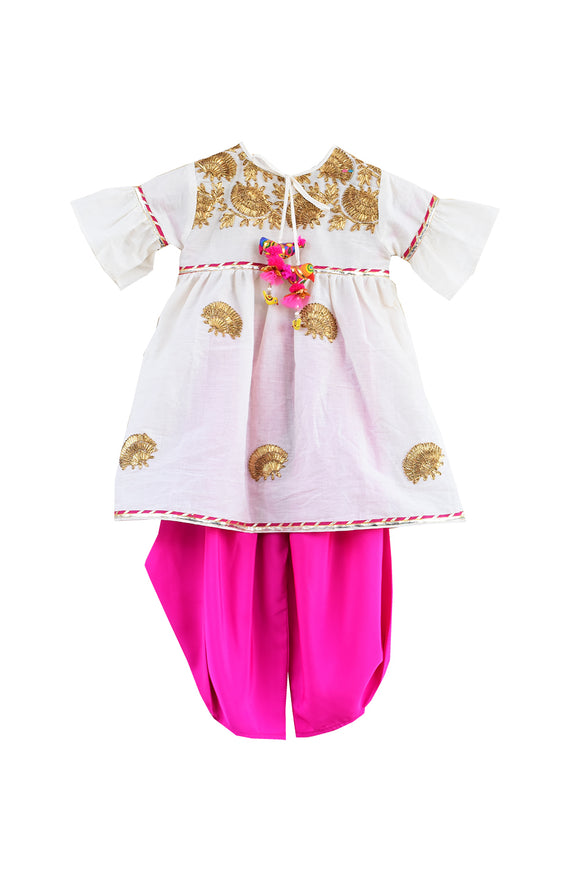Off-white Embroidery Kurti with Pink Dhoti