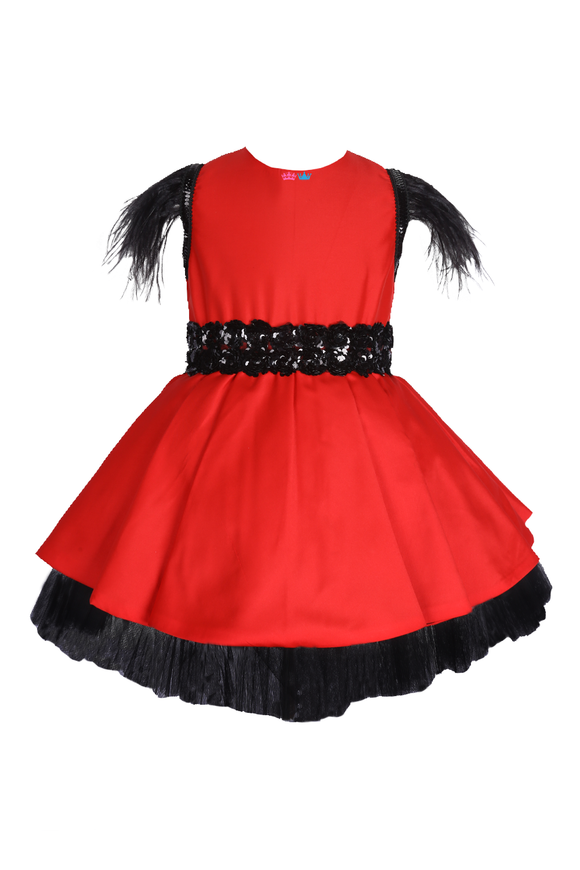Red Party Wear Dress With Feathers And Sequins Belt