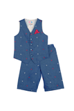 Hand embroidered waistcoat and shorts set
