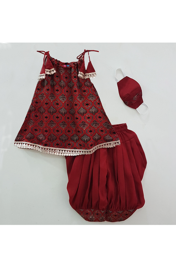 Brick red printed adjustable neck kurti dhoti with mask