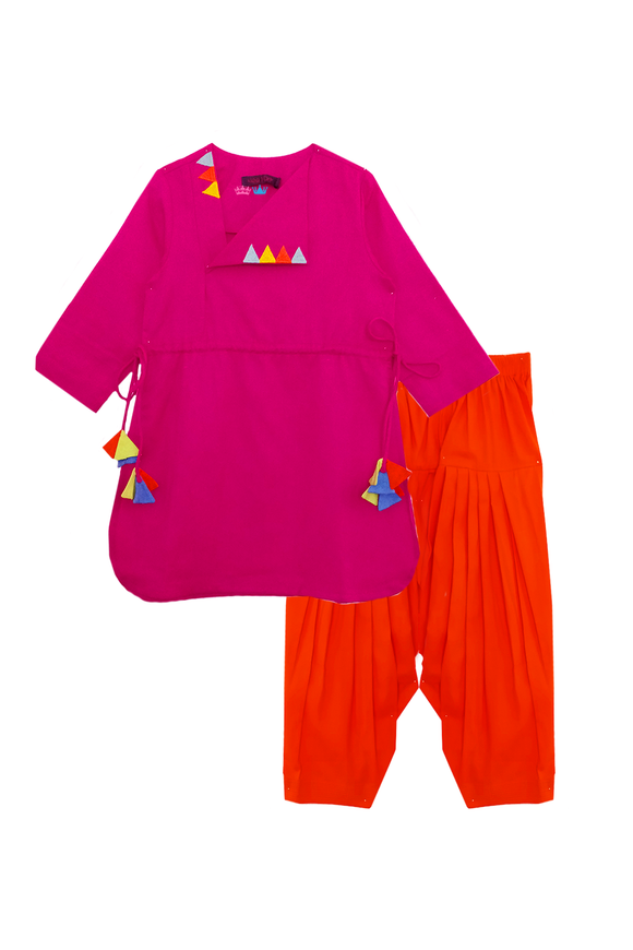 Hot pink right angle triangle kurta and dhoti