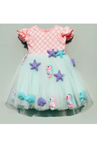 3D sea creatures peach and sea green dress
