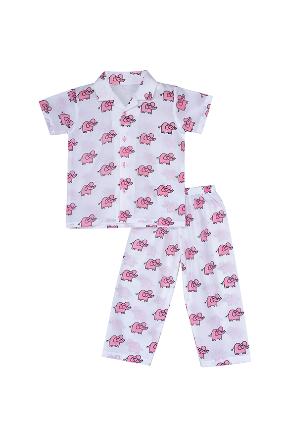 Pink elephant printed half sleeves nightsuit set
