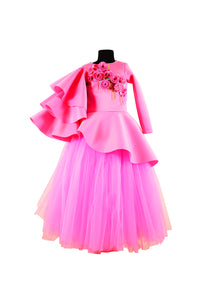 Pink Triple Layered Sleeves Peplum Corset with Long Tutu Skirt