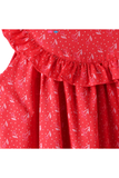 Small cherry printed dress with pleats at yoke