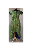 Olive green/blue embroidered dress
