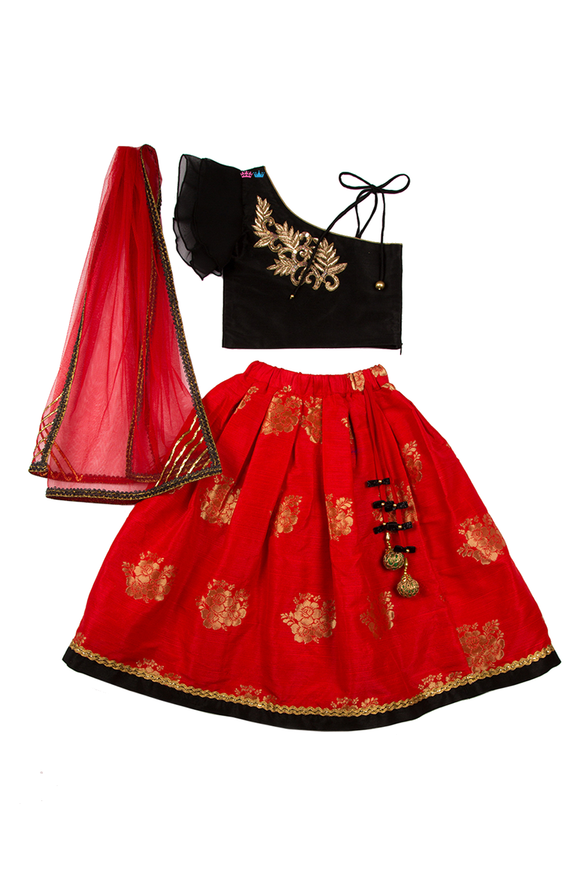 Black one shoulder choli with red lehenga
