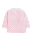 Pink polka sleepwear with lace collar