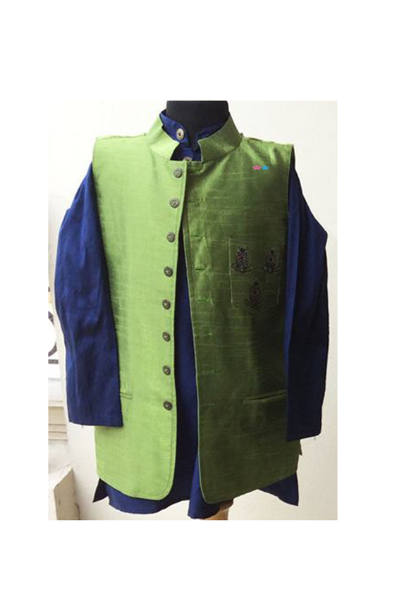 Blue kurta and olive green Nehru jacket