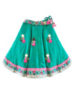 Silk lehenga with pink and golden choli for baby girls