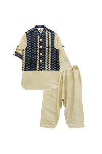 Ikkat print jacket with beige kurta and pyjama set