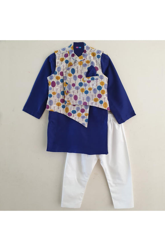 Dark blue kurta with pyjama and tree print jacket