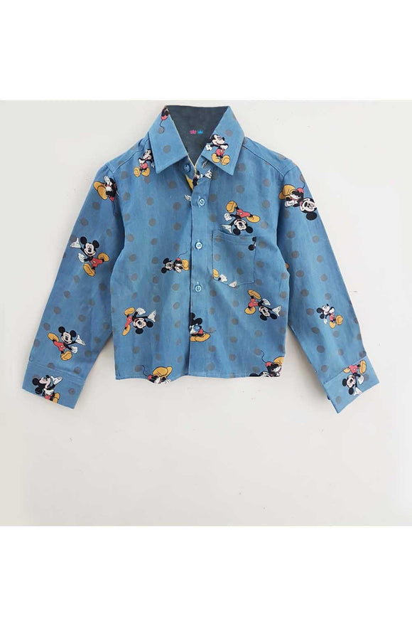 Denim blue mickey mouse with polka dot shirt