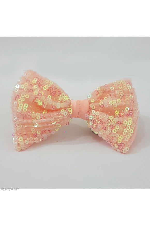 Peach sequins bow clip! designer Hair Accessories, designer Hair Clips, designer Hair Bands, Hair Accessories for girls