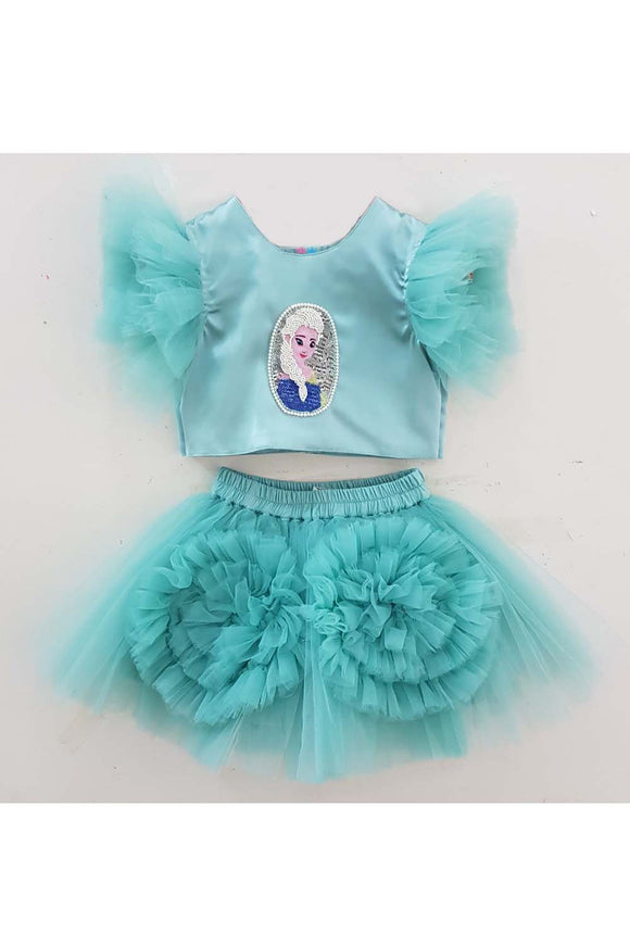 Turquoise barbie beads top and skirt set