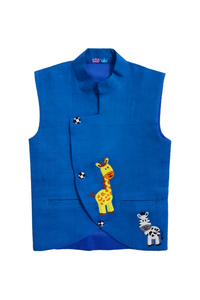 Zebra Giraffe embroidered Nehru Jacket