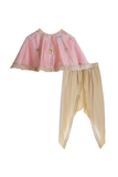 Organic Gota Embroidered Pink Cape with Crop Top and Draped Dhoti Pants