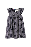 Pineapple printed dress with pleat at yoke