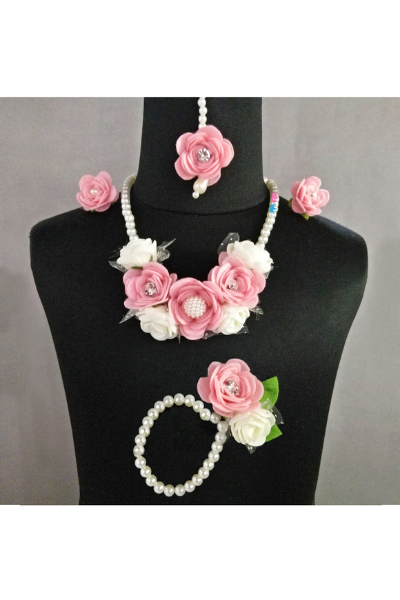 Floral necklace, mang tika, earrings and bracelet set