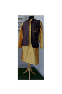 Brown/Mustard bird embroidery Nehru jacket and kurta