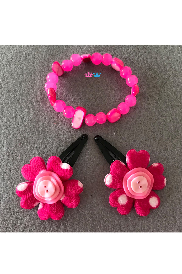Flower theme hair clips and bracelet