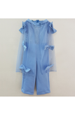 Blue glitter jumpsuit with bow embellished cape