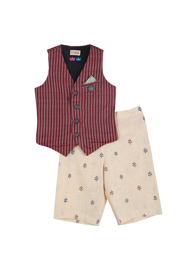 Waistcoat And Hand Embroidered Shorts Set