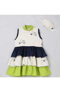 Green and navy blue high neck ruffle dress with mask