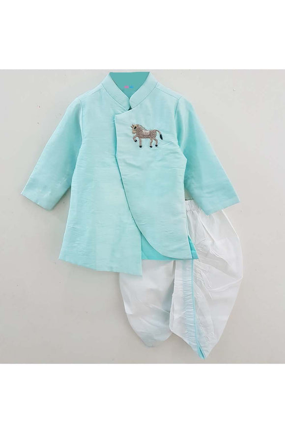 Turquoise horse embroidered motif sherwani and white dhoti