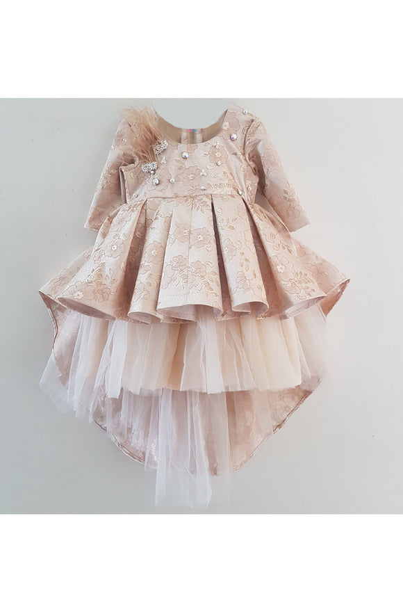 Peach Jacquard high low feather patches dress