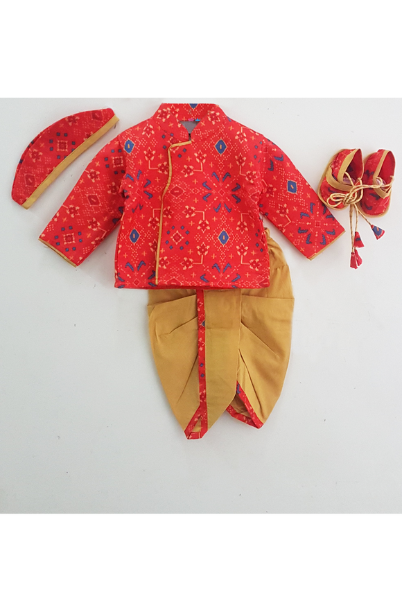 Floral muslin printed red and yellow jamna set