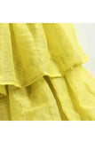 Yellow round shape kurta with layered sharara and dupatta