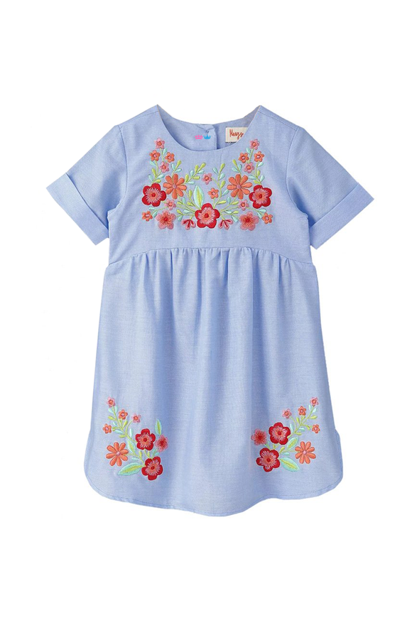 Chambray Dress With Floral Embroidery