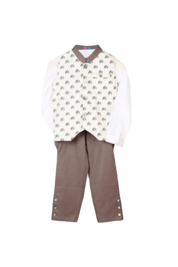 Organic Elephant Printed Waistcoat With Matching Shirt and Pant