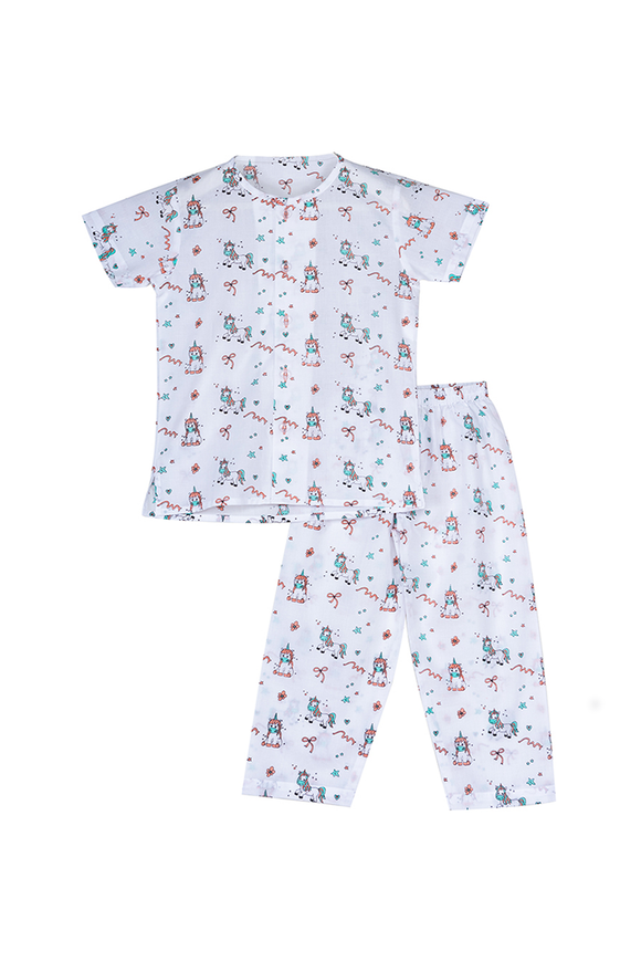 Unicorns printed half sleeves nightsuit set