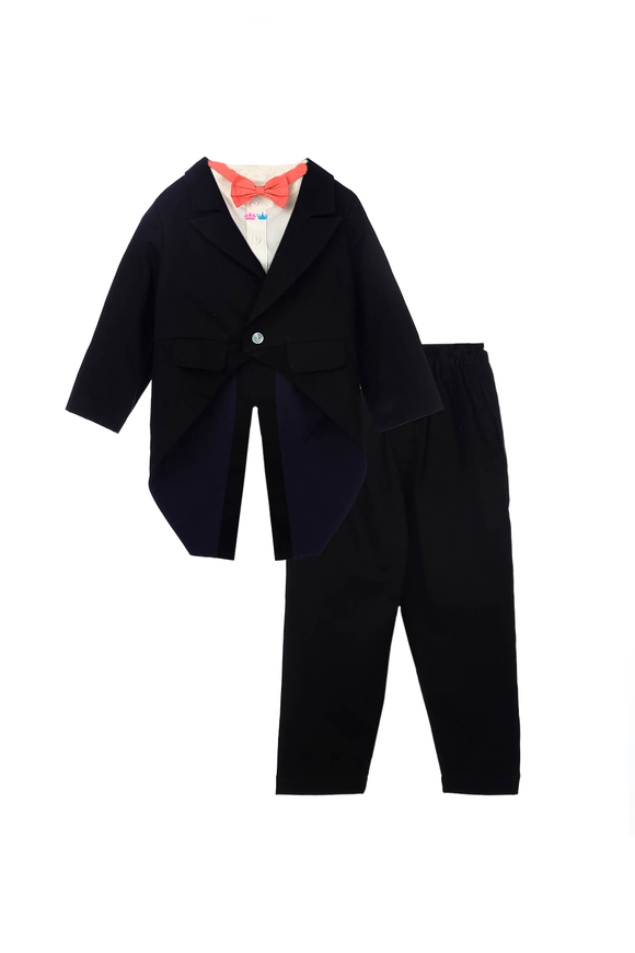 Organic Formal Black Tuxedo Set with Jacket, Shirt, Trouser and Red Bowtie