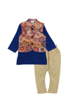 Multicolor jacket with blue kurta and beige pyjama set
