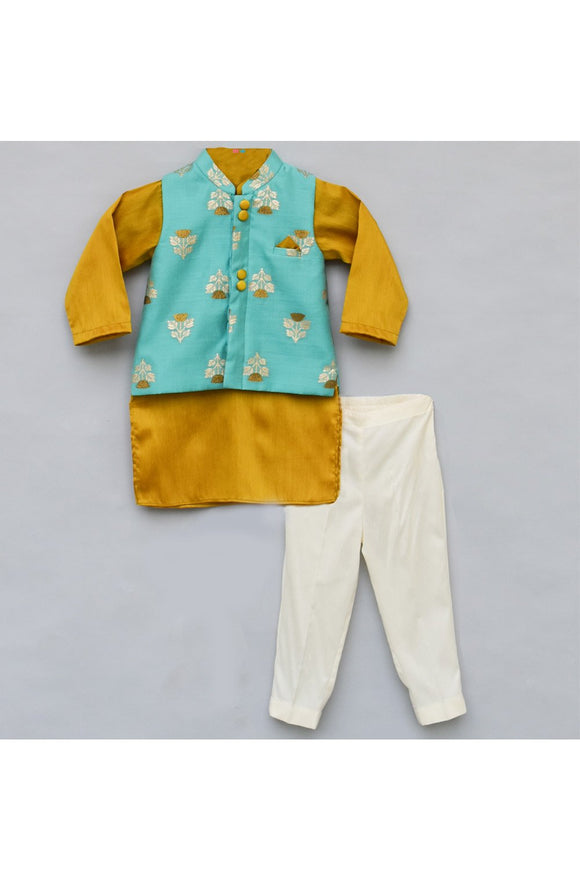 Aqua chanderi nehru jacket with kurta pant set! Stylemylo offers a wide range of Designer Indian wear for Boys, Ethnic wear for boys, Kurta pyjama for boys, Kids kurta pyjama set, Dhoti set for boys, Designer Dhoti Kurta, Online Dhoti Kurta set, Designer Dhoti kurta for boys.