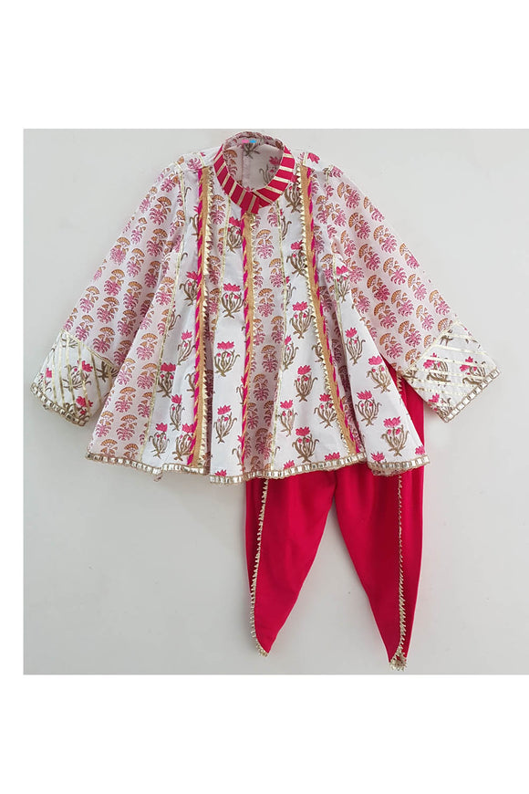 White block print top with pink dhoti! Designer Salwar Suit Sets for Baby Girls, Designer Ethnic wear for Girls, Designer Indian wear for Girls, Designer Kurta Dhoti for Baby Girls, Designer Kurta Sharara Sets for Baby Girls, Designer Kurta Garara Sets for Baby Girls, Designer Anarkali Suits for Girls