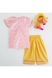 Pink polka dot kurta and yellow palazzo