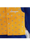 Dark blue kurta with yellow jacket and pyjama! Stylemylo offers a wide range of Designer Indian wear for Boys, Ethnic wear for boys, Kurta pyjama for boys, Kids kurta pyjama set, Dhoti set for boys, Designer Dhoti Kurta, Online Dhoti Kurta set, Designer Dhoti kurta for boys.