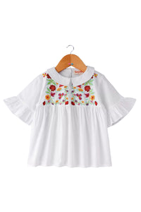 Collar Top With Floral Embroidery