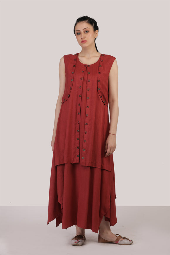 Two piece tencel twill brown red dress
