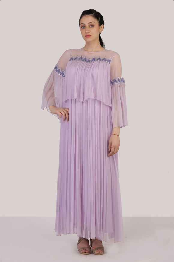 Georgette two piece pleated light violet dress