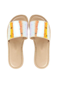 Milky way yellow sandals! Footwear for girls, Flip flop for girls, designer sandals for girls, belly shoes for girls, designer kolhapuri flats